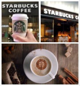 Fachada y taza de café de Starbucks
