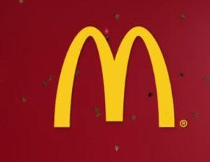 Icono de Macdonald's rojo y dorado